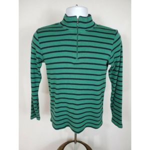 L.L. Bean Half Zip Green Blue Cotton Sweater Small